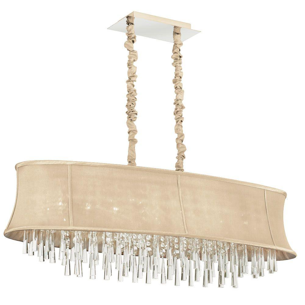 Filament Design Minta 8 Light Polished Chrome Chandelier With Cream Fabric Shades