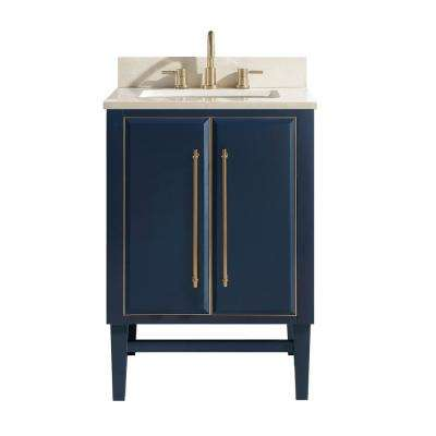 Mason 25 in. W x 22 in. D Bath Vanity in Navy Blue/Gold Trim with Marble Vanity Top in Crema Marfil with White Basin