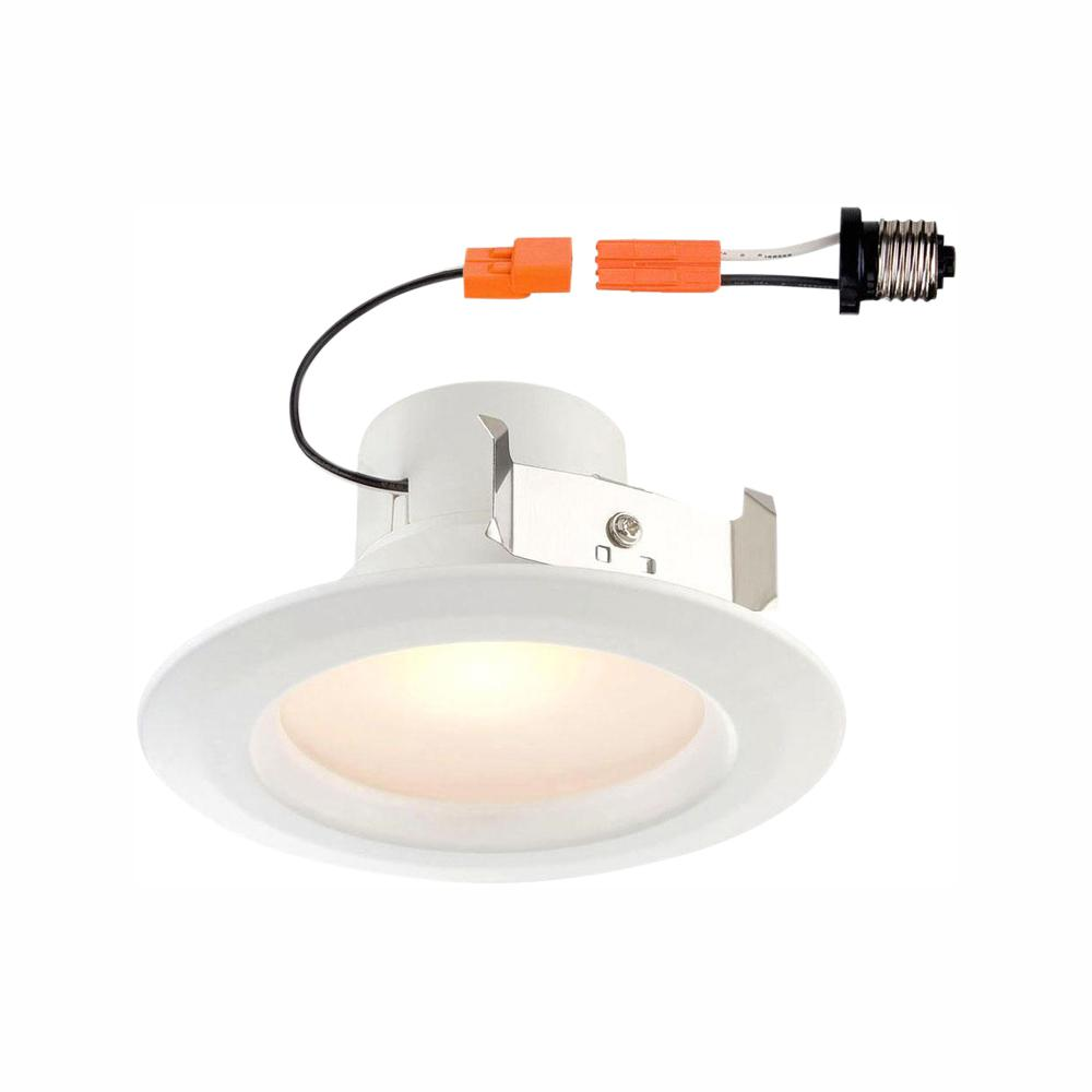 Envirolite Standard Retrofit 4 In White Recessed Trim Soft Light Led Ceiling Can Light With 91 Cri 3500k Evl4730mwh35 The Home Depot