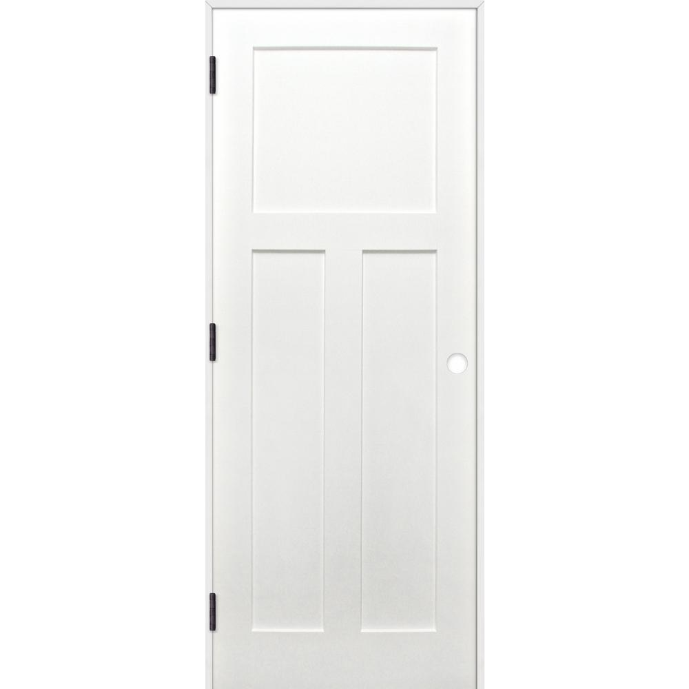 Pacific Entries 32 In X 80 In Craftsman Unfinished 3 Panel Solid Wood Core Primed Pine