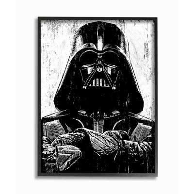 """16 in. x 20 in. """"Black and White Star Wars Darth Vader Distressed Wood Etching"""" by Artist Neil Shigley Framed Wall Art"""