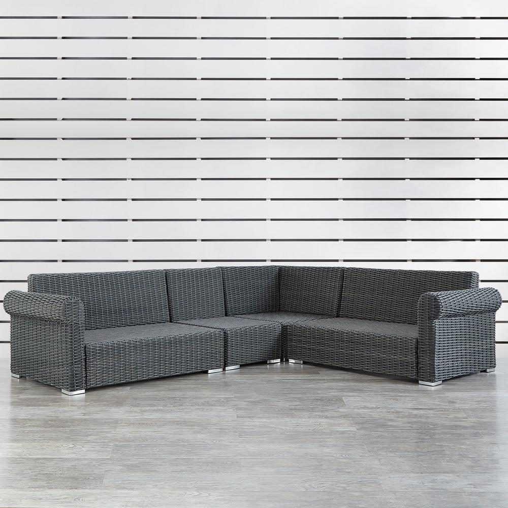 Homesullivan Charcoal Wicker Rolled Arm Outdoor Sectional Sofa