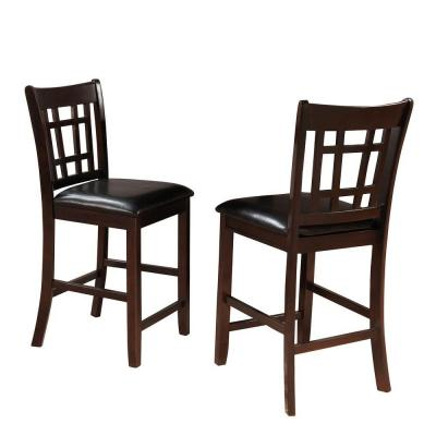 24 in. Ryoko Warm Cherry Cushioned Bar Stool (Set of 2)