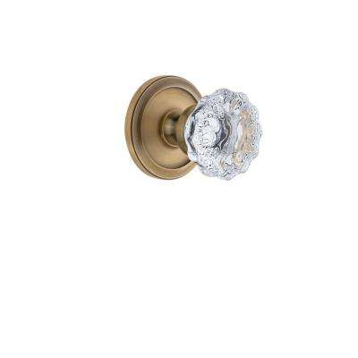 Circulaire Rosette 2-3/4 in. Backset Vintage Brass Privacy Bed/Bath with Fontainebleau Crystal Door Knob