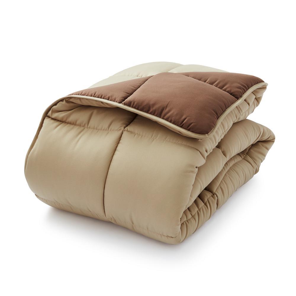 Lightweight Solid Comforter Set Brown//Tan Down Alternative Reversible Comforter