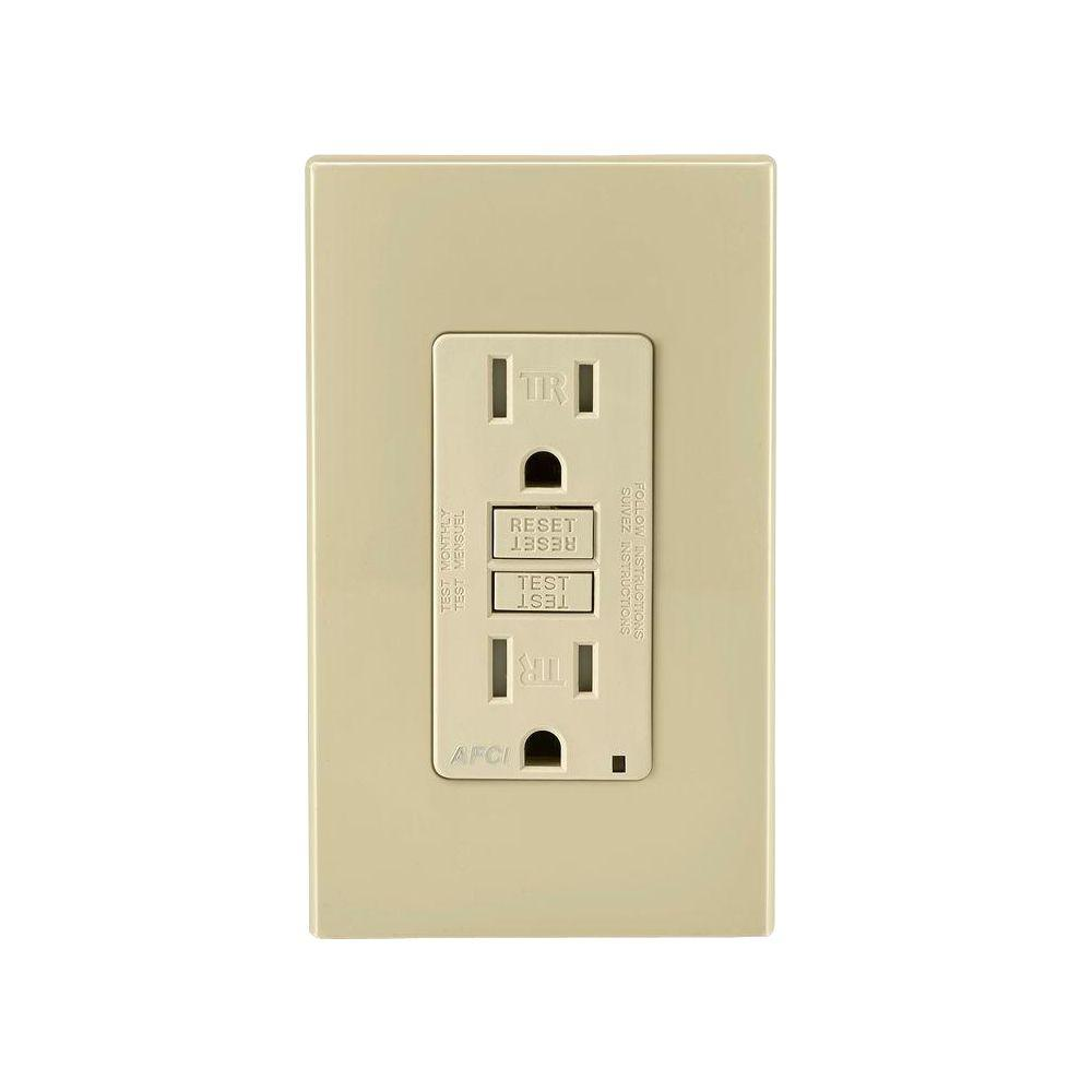 Leviton 15 Amp Tamper Resistant Afci Outlet Ivory Aftr1 I The Residential Wiring Test Questions
