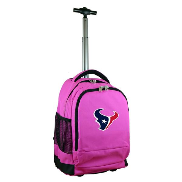Denco NFL Houston Texans 19 in. Pink Wheeled Premium Backpack NFHTL780_PK