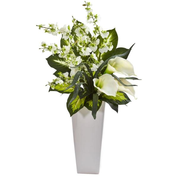 Nearly Natural 29 in. Indoor Calla Lily and Orchid Artificial Arrangement in White Vase
