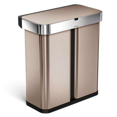 15.3 Gal. Rose Gold Stainless Steel Dual Compartment Rectangular Sensor Recycling Trash Can with Voice/Motion Control