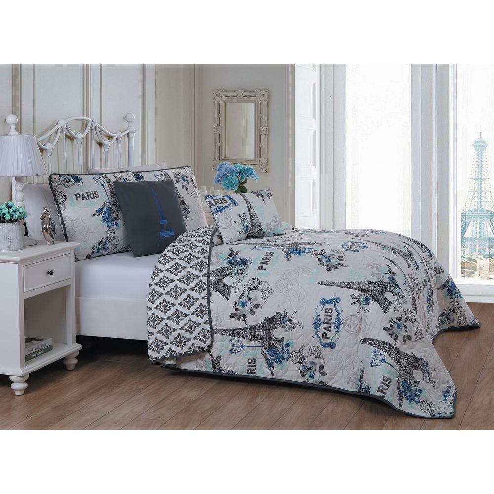Cherie 4-Piece Blue Twin Quilt Set