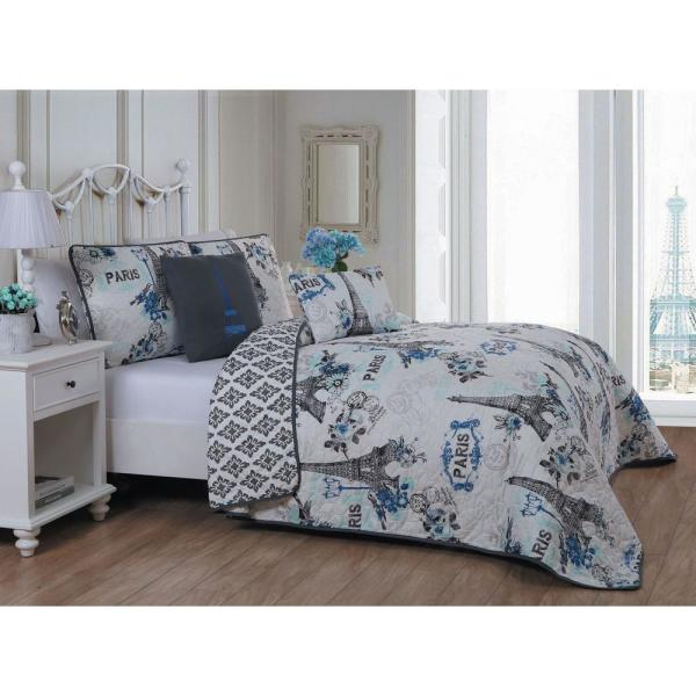 Avondale Manor Cherie Blue Twin Quilt Set CRE4QTTWINGHBL