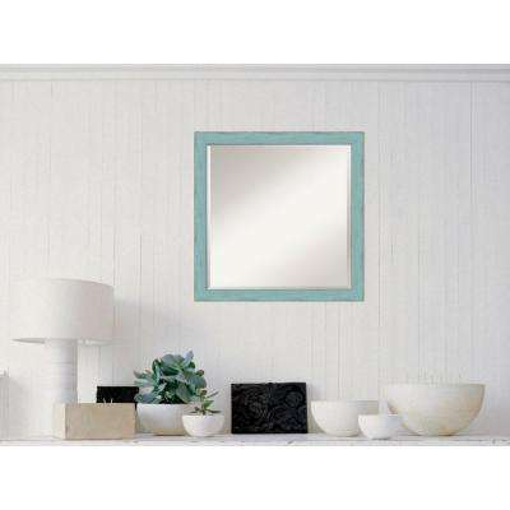 Sky Blue Rustic Wood 23 in. W x 23 in. H Distressed Framed Mirror