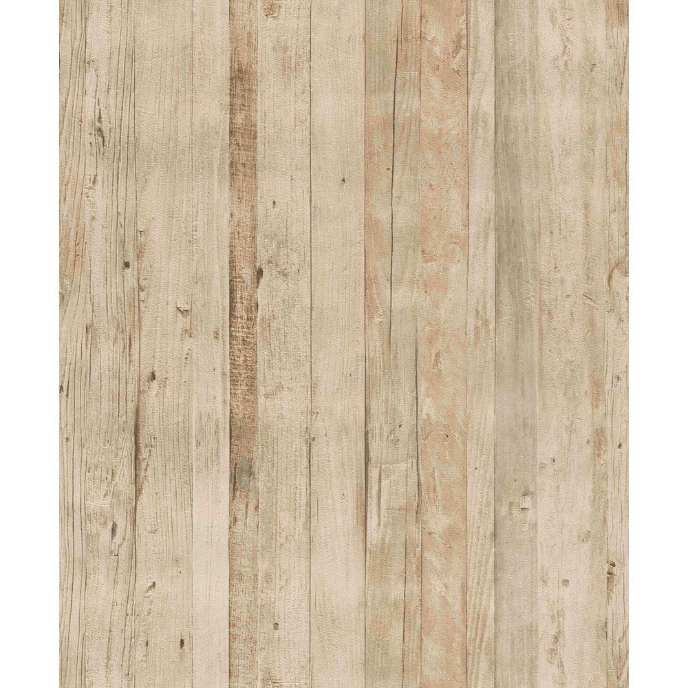 Faux Driftwood Cream Rustica Wallpaper
