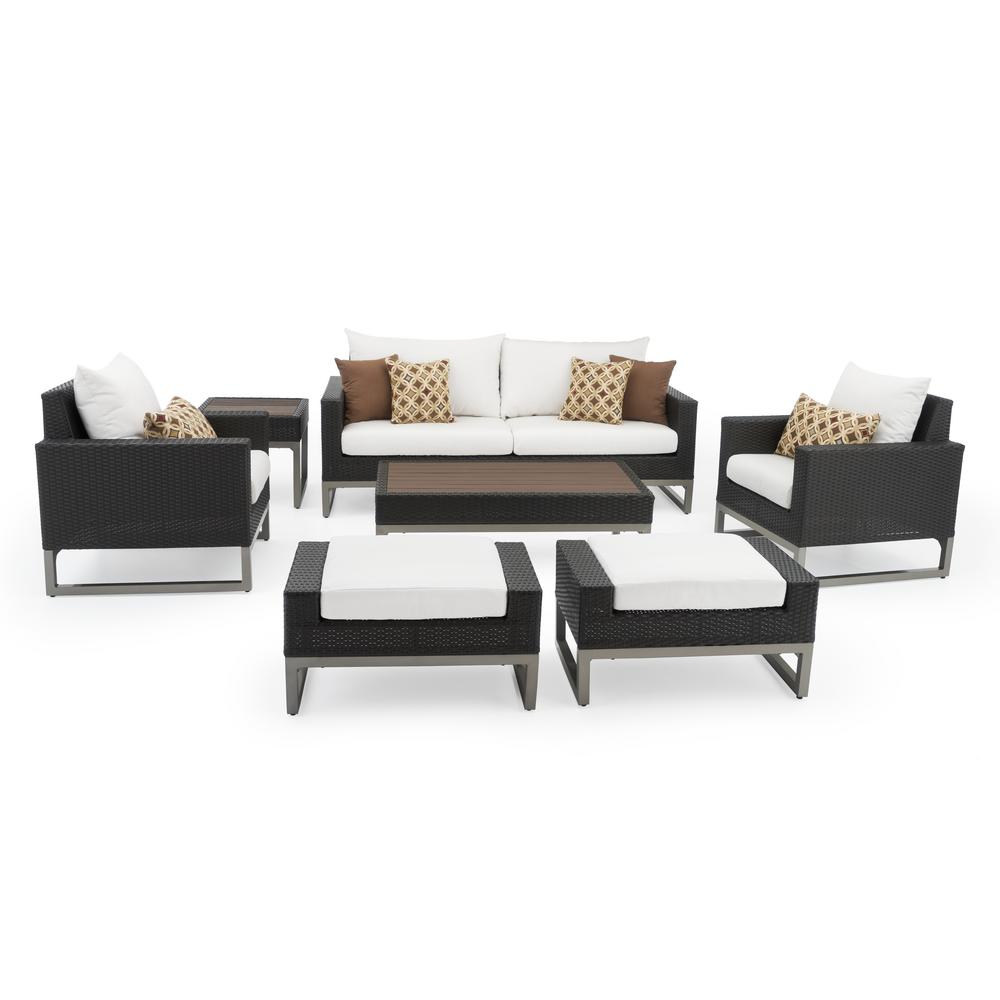 RST Brands Milo Espresso 7-Piece Wicker Patio Deep Seating Conversation Set with Sunbrella Moroccan Cream Cushions