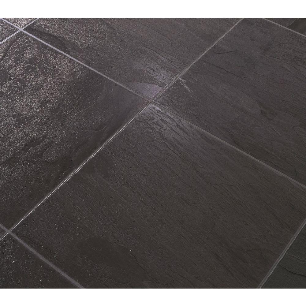 DuPont Black Slate Laminate Flooring - 5 in. x 7 in. Take Home Sample-DISCONTINUED