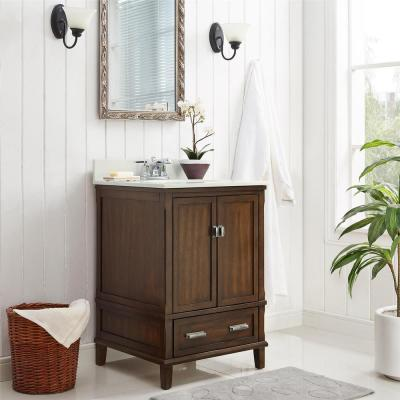 Irving 24 in. W Bath Vanity in Dark Walnut with Soft White Engineered Stone Vanity Top w/ Pre-Installed Porcelain Basin
