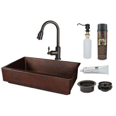 All-in-One Farmhouse Apron Front Copper 35 in. Single Bowl Retrofit Kitchen Sink with Faucet in Oil Rubbed Bronze