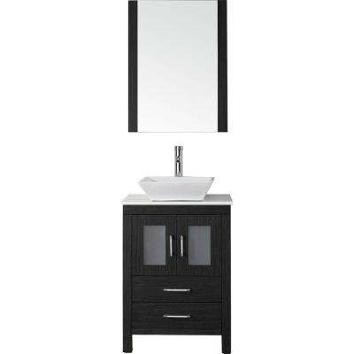 Dior 25 in. W Bath Vanity in Zebra Gray with Stone Vanity Top in White with Square Basin and Mirror and Faucet