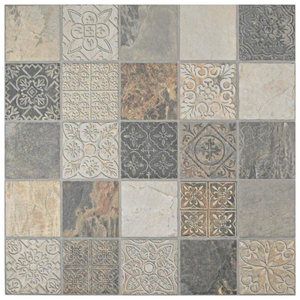 Merola Tile Deco Calzada Ardesia 17 1 2 In X 17 1 2 In Porcelain Floor And Wall Tile 10 94 Sq Ft Case Fgfdecca The Home Depot