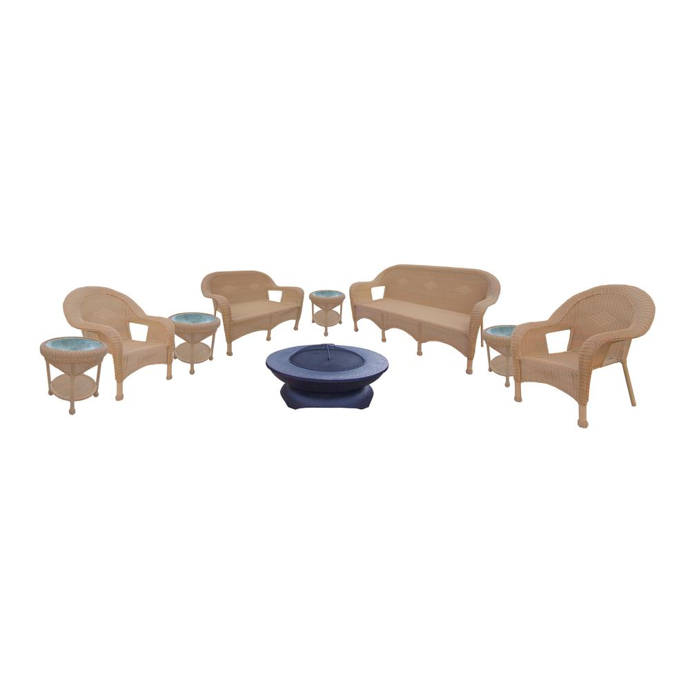 Honey 9-Piece Wicker Patio Fire Pit Seating Set with Black Floral