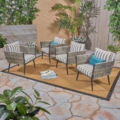 Oceanus Black Aluminum and Light Gray Wicker Armed Outdoor Lounge Chair with Striped Gray and White Cushions (4-Pack)