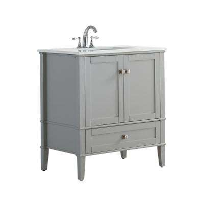 30 in. W x 21.5 in. D x 34.7 in. H Vanity in Grey with Engineered Quartz Marble Vanity Top in White with White Basin