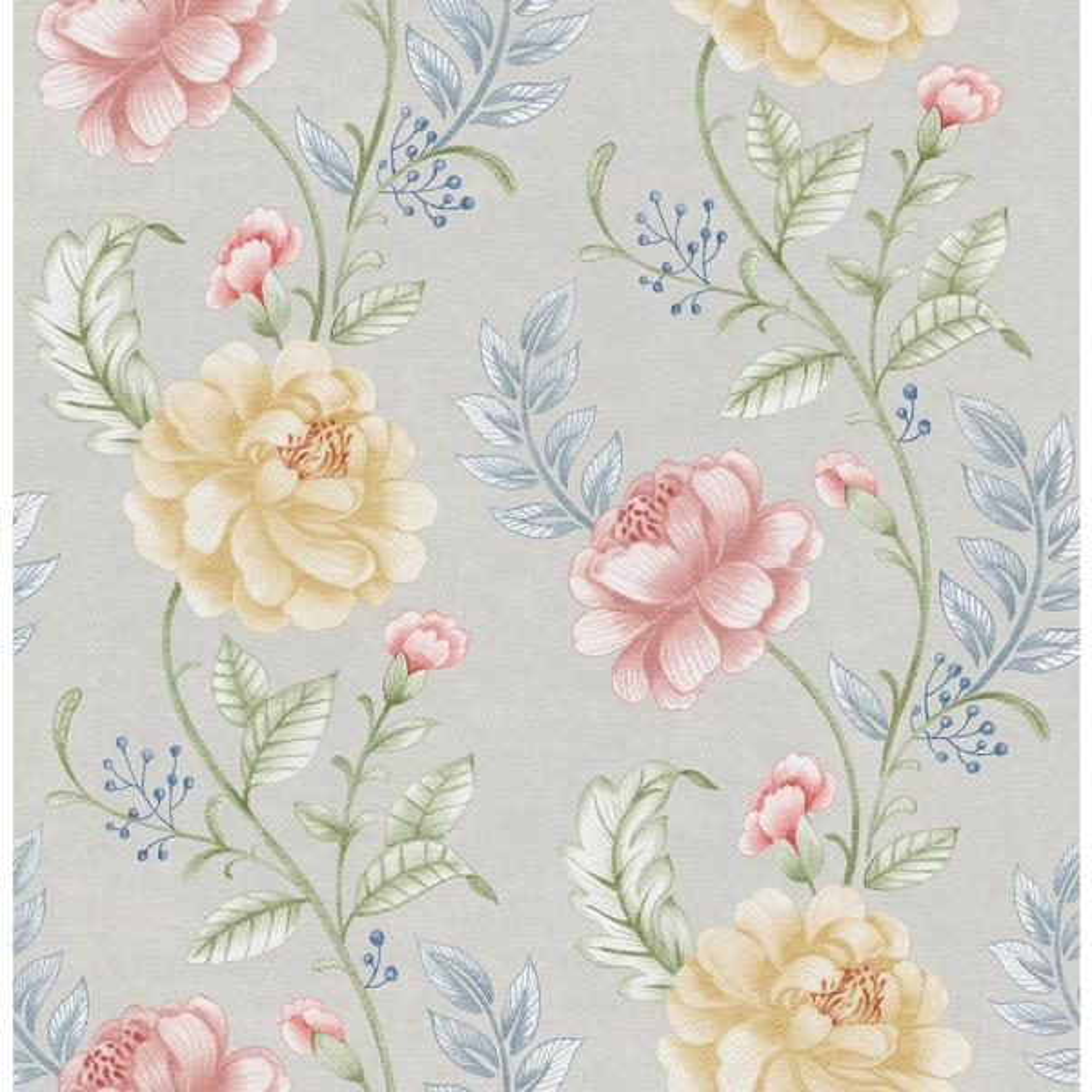 Beacon House Summer Palace Grey Floral Trail Wallpaper Sample 2669-21758SAM
