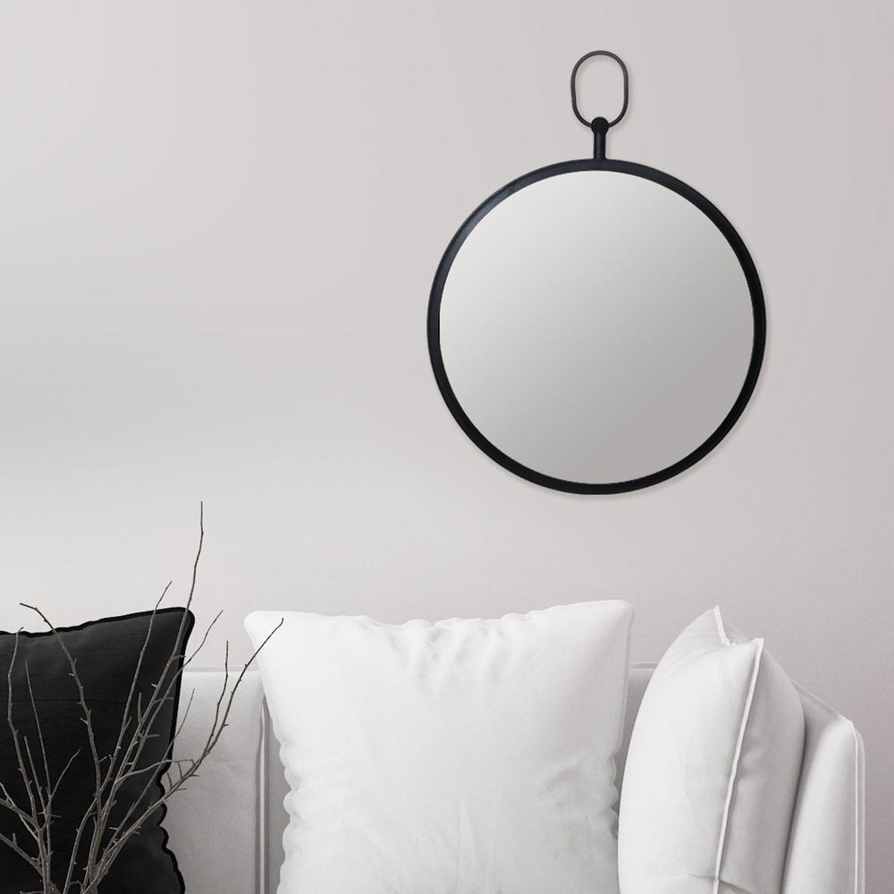 Handle Round Black Decorative Wall Mirror