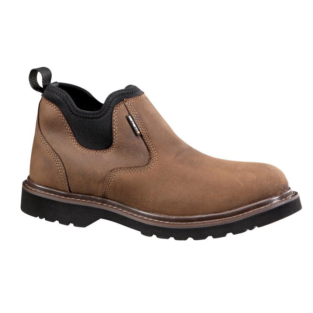 e751fc7828c Carhartt Men's 10M Brown Leather/Black Neoprene Ankle Waterproof Soft Toe 4  in. Romeo Work Boot