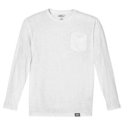 Men's Medium White 100% Cotton Long Sleeved Pocket T-Shirt