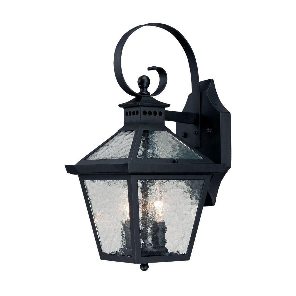 Bay Street Collection 2-Light Matte Black Outdoor Wall-Mount Fixture