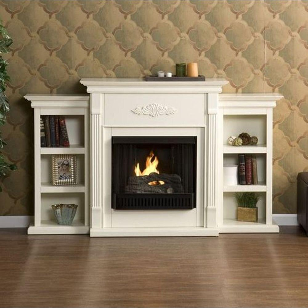 Southern Enterprises Tennyson 70 in. Gel Fuel Fireplace with Bookcases in Ivory
