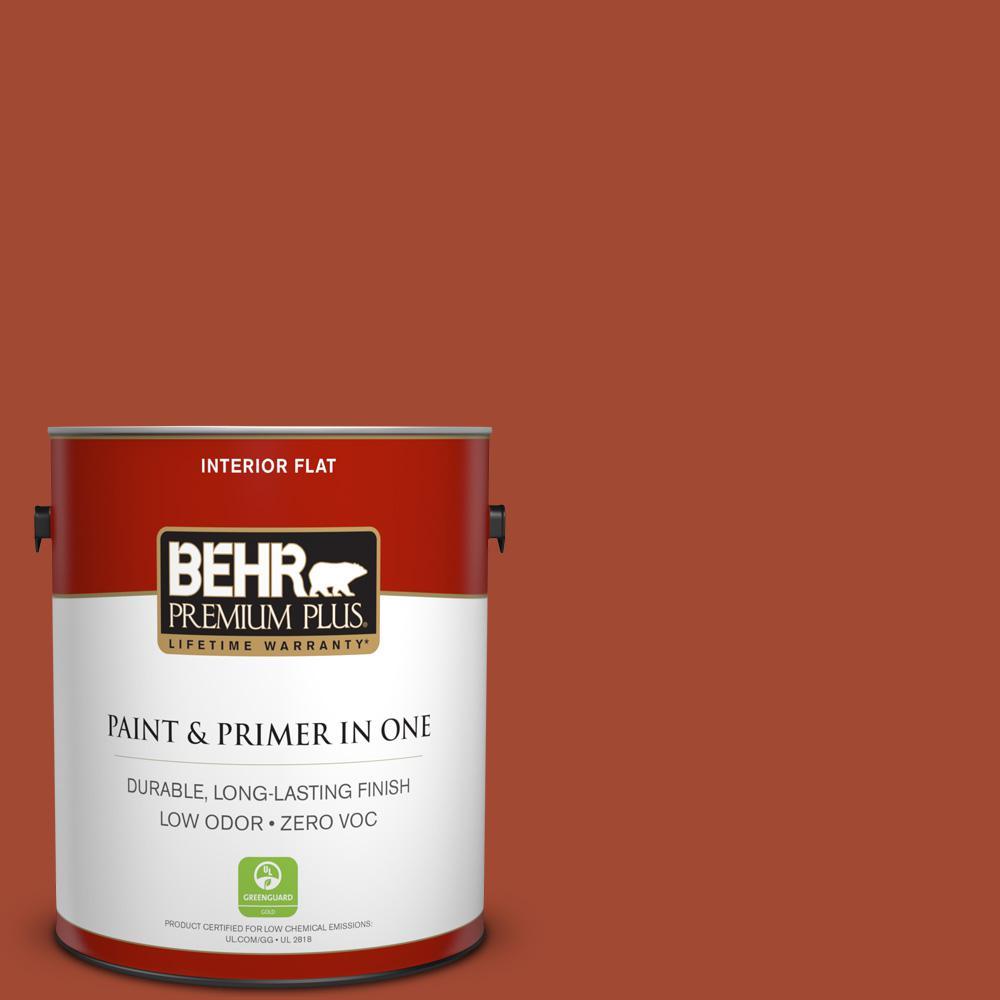 BEHR Premium Plus 1-gal. #200D-7 Rodeo Red Zero VOC Flat Interior Paint