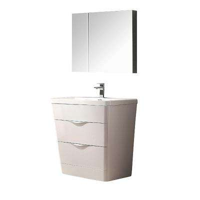 Milano 32 in. Vanity in White with Acrylic Vanity Top in White and Medicine Cabinet