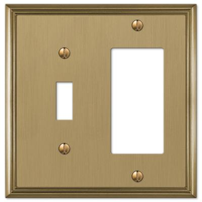 Rhodes 2 Gang 1-Toggle and 1-Rocker Metal Wall Plate - Brushed Bronze