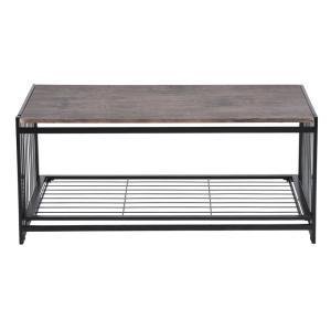 Line 39.37 in. Brown Rectangular Folding Console Table Coffee Table with a Shelf
