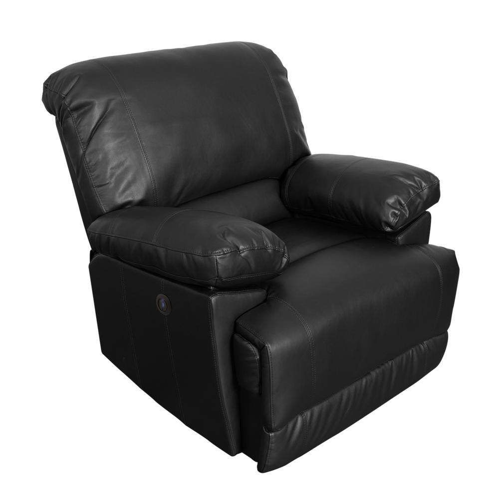 Lea Black Bonded Leather Power Recliner with USB Port