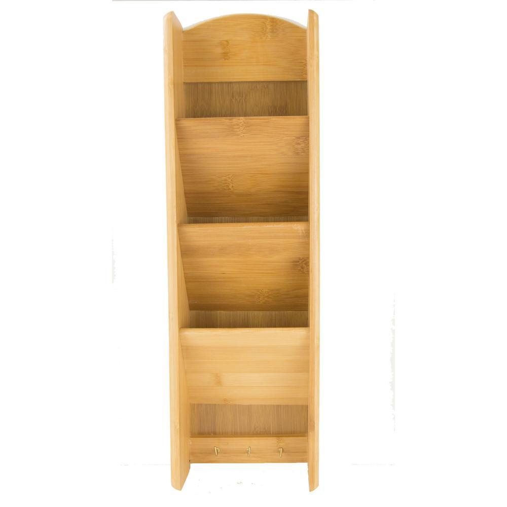 3-Shelf 6 in. x 20 in. Bamboo Letter Rack