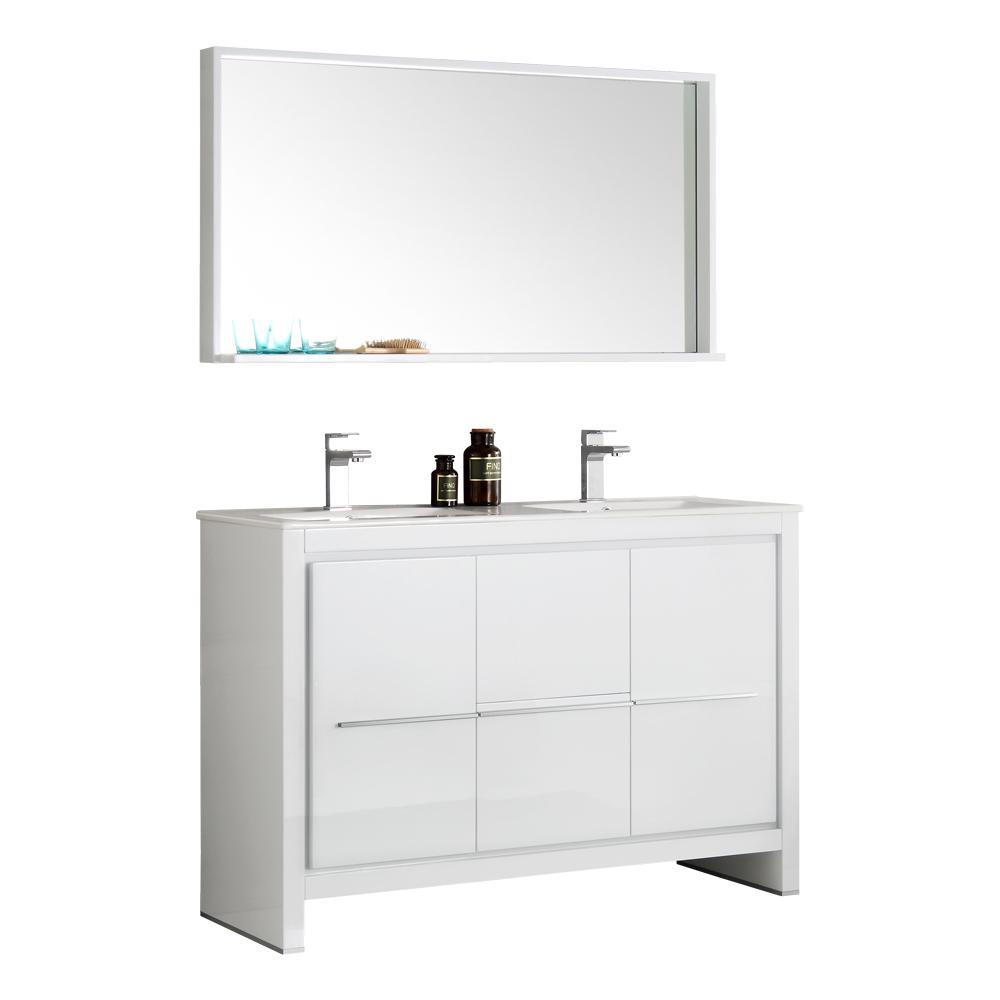 Vanity White Ceramic Vanity Top White Double White Basin Mirror