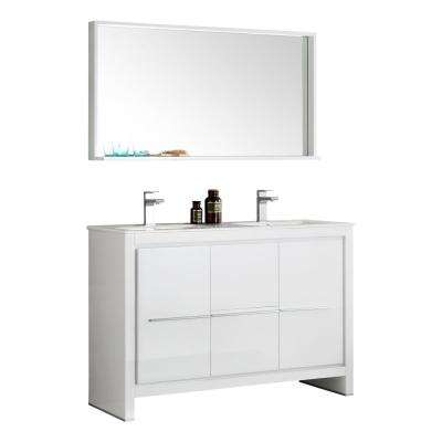 Allier 48 in. W Vanity in White with Ceramic Vanity Top in White with Double White Basin and Mirror