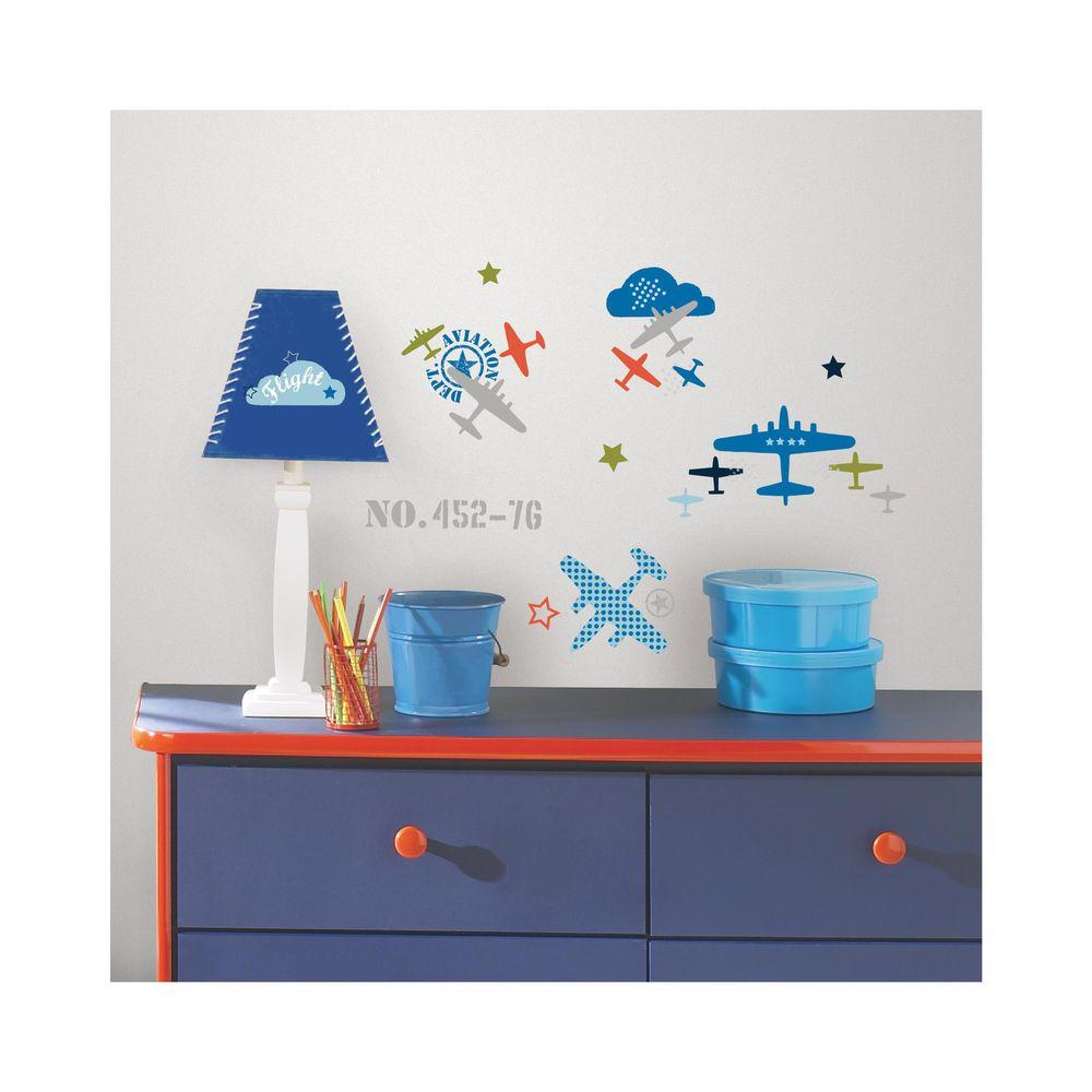 RoomMates 5 in. x 11.5 in. Zutano Aviation 21-Piece Peel and Stick Wall Decal