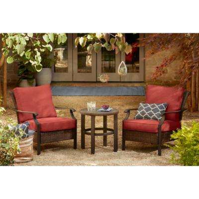 Harper Creek 3-Piece Brown Steel Outdoor Patio Chair Set with Bare Cushions
