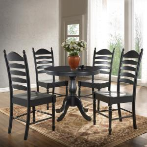 Fairview Antique Black 36 in. Round Pedestal Dining Table