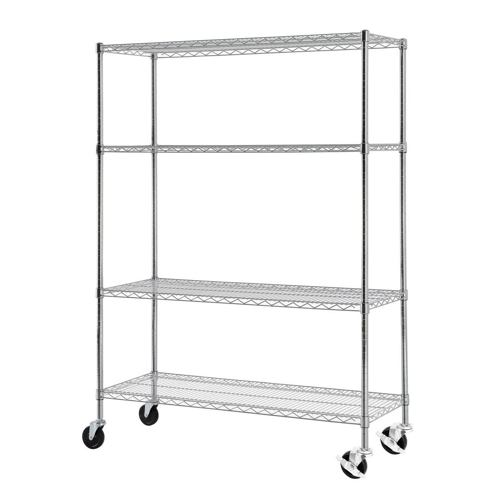 Excel 65 in. H x 48 in. W x 18 in. D 4-Tier Wire Shelving with ...