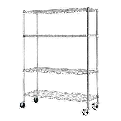65 in. H x 48 in. W x 18 in. D 4-Tier Wire Shelving with Casters in Chrome