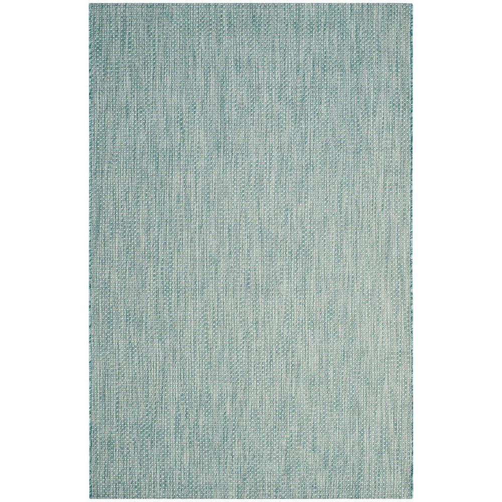 Safavieh Courtyard Aqua Gray 4 Ft X 6 Ft Indoor Outdoor Area Rug