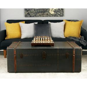 Amazing Gray Wood And Metal Steamer Trunk Coffee Table Evergreenethics Interior Chair Design Evergreenethicsorg