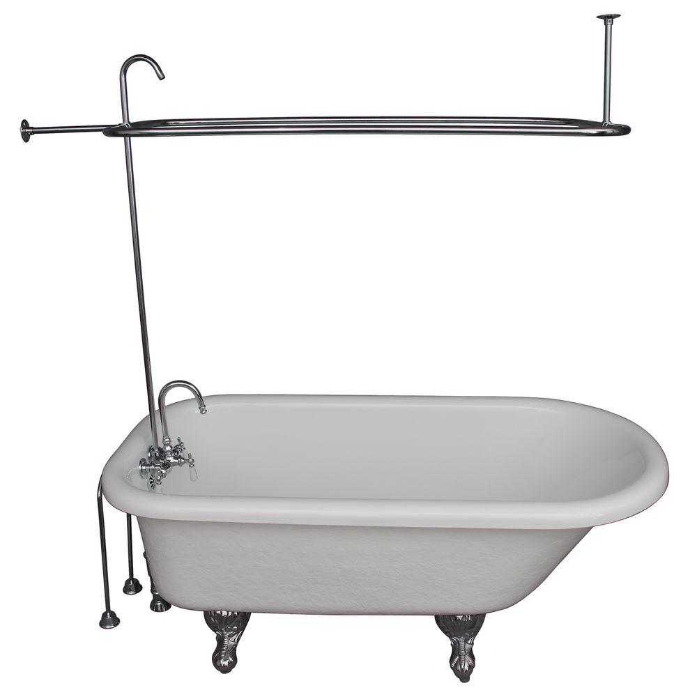 Barclay Products 5 Ft Acrylic Ball And Claw Feet Roll Top Tub In