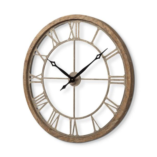 Mercana Mething Iii 19 In Brown Oversize Farmhouse Analog Wall Clock 63081 The Home Depot