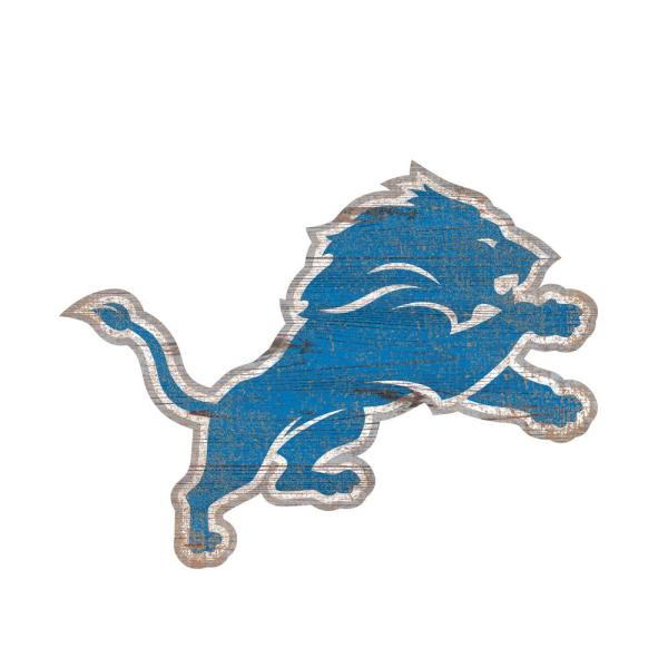 Adventure Furniture NFL Indoor Detroit Lions Distressed Logo Cutout Wood Sign